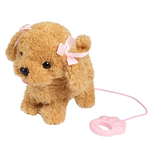 RuiDaXiang Elektronische Haustiere Hund ,Kids Walking und Bellen Plüschhund Toy Pet mit Ferngesteuerter Leine (Braun-Nila)