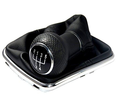 L & P Car Design L&P A253 Schaltsack Schaltmanschette Schwarz Schaltknauf 5 Gang 12mm kompatibel mit VW Golf 4 IV Rahmen Chrom Knauf Plug Play Ersatzteil für 1J0711113