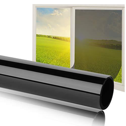 Fortunam Sonnenschutz Fensterfolie Selbsthaftend Spiegelfolie für Fenster Folie für Sonnenschutz Fenster Außen und Innen Sonnenschutzfolie für Schlafzimmer UV-Schutz Fensteraufkleber 75x300cm