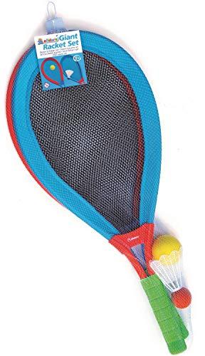 alldoro 60050 - XXL Softball Spiel Set mit Ball, Federball und 2 Schläger ca. 75 cm, Outdoor Federballspiel, Riesen Tennisschläger, Jumbo Tennis Softballspiel, für Kinder ab 5 Jahre & Erwachsene