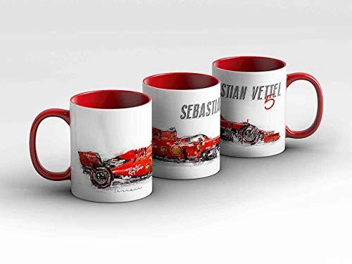 gasoline.gallery Formel 1 Tasse - Sebastian Vettel - Scuderia Ferrari Mission Winnow - Silhouette rot Kaffeebecher