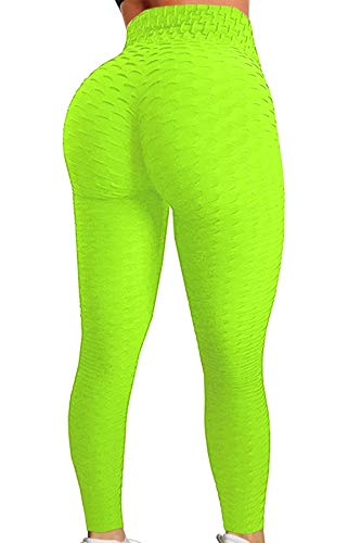 Pau1Hami1ton Damen Leggings, Sporthose Fitnesshose Training Laufhose Sport Tights Hohe Taille Yogahose GP-11(Neon Green,XL)