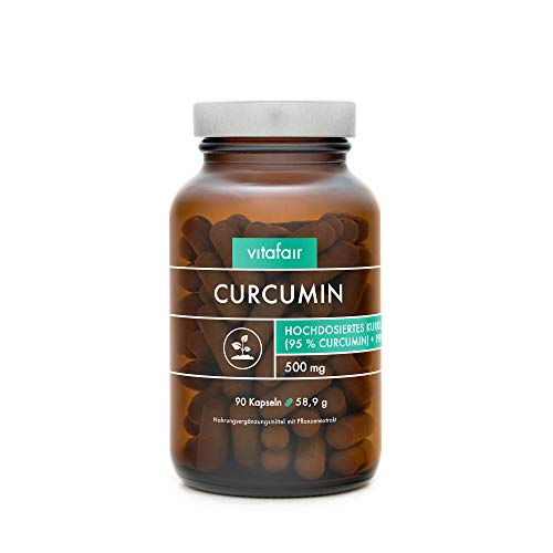 VITAFAIR Curcuma Extrakt (1000mg hochdosiert pro Tag) - 90 Vegane Kapseln in Braunglas, Ohne Magnesiumstearat, German Quality - Kurkumin Kapseln - Curcumin & Piperin, Kurkumin