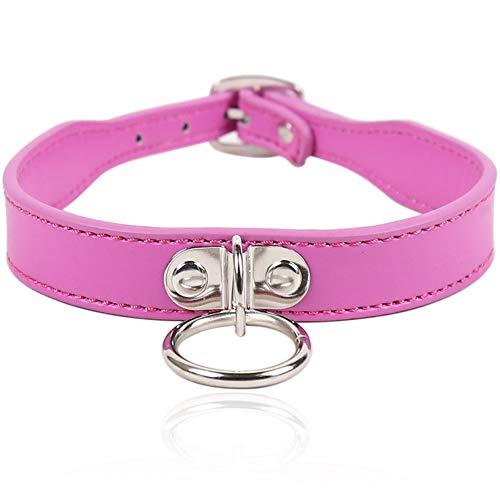 Choker Halsband Damen Halskette Damen Collar Sex o Ring Lederhalsband Frauen Sex Fetisch Sm Fesseln Halsbänder-Pink