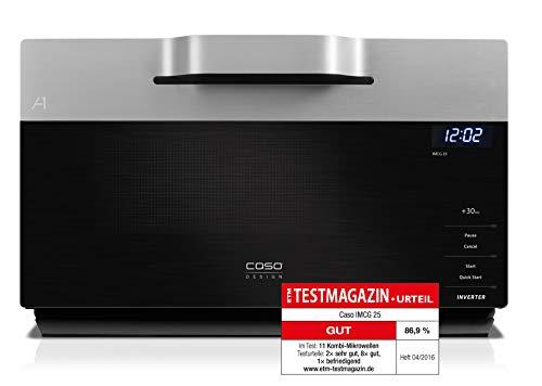 CASO   IMCG25 3-in-1 Mikrowelle mit Grill und Heißluft 2050W  Inverter-Technik für schonendes Erwärmen, Backofen-Funktion 110-200°C, 25L, Design Edelstahl