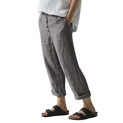 WOZOW Freizeithose Stoffhose Damen Solid Einfarbig Bettwäsche Leinen Lose Casual Lang Long Straight Leg High Waist Arbeitskleidung Mode Slim Elegant Crop Trousers (3XL,Grau)