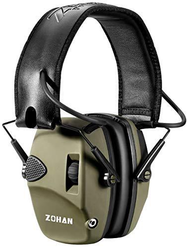 ZOHAN Elektronischer Schiessen Gehörschutz, Schießstand Gehörschutzer, Aktiver Ohrenschützer Lärmminderung Klangverstärkung für Jagd, NRR22dB SNR 27dB, Grün(KEIN Tasche) MEHRWEG