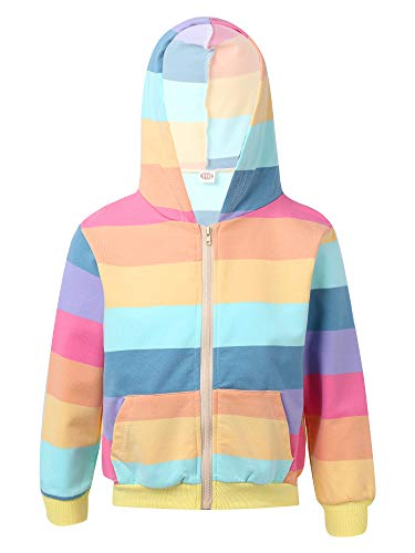 YOOJIA Kinder Mädchen Frühlingsjacke Langarm Kapuzenpullover Hoodie Pullover mit Tasche Baumwoole Sweatjacke gr.98-152 Regenbogen 134-140