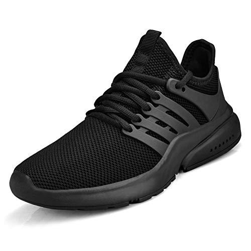 ZOCAVIA Herren Schuhe rutschfest SneakerTurnschuhe Leichte Laufschuhe Atmungsaktive Wanderschuhe, 46 EU Weit, Schwarz