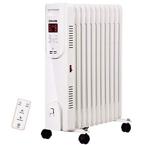 DMS® Ölradiator - Elektrische Heizung mit 11 Rippen 2500W Öl Radiator Elektroheizung Mobil LED Display, Fernbedienung Timer Abschaltautomatik Überhitzungsschutz OR-11 (11 Rippen)