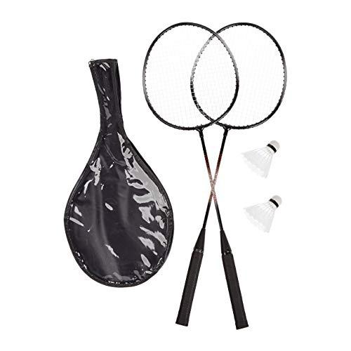 Relaxdays, grau Badmintonset mit Tasche, 2 robuste Bälle, Federballschläger für Kinder/Erwachsene, HxB 66 x 20 cm, 2 Schläger