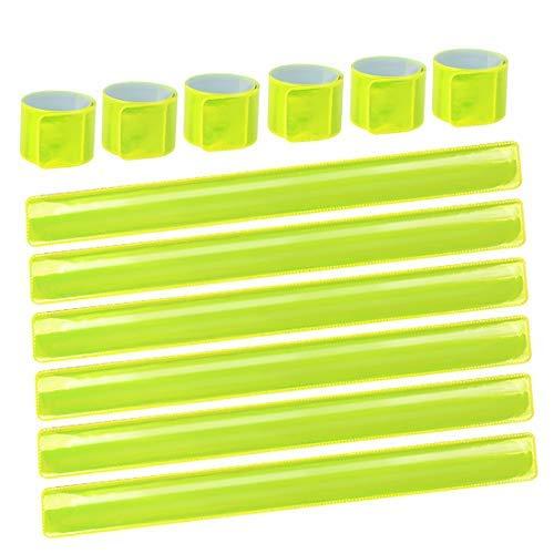 LISOPO 12PCS Reflektierendes Reflektorbänder Schnapparmbänder Klatscharmband Sicherheitsband Reflektierend für Jogger und Radfahrer