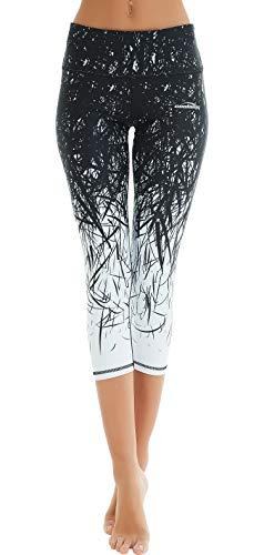 COOLOMG Damen Sport Leggings Yoga Hosen-Fitnesshose, B-schwarz- weiß (Capri), Gr.-M