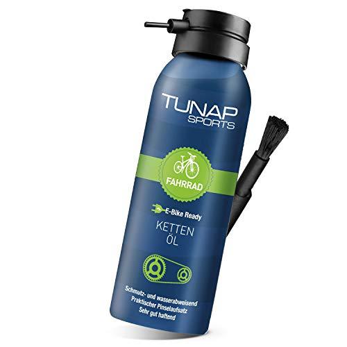 TUNAP SPORTS Kettenöl Spray und Dosier-Pinsel, 125 ml | Fahrrad Langzeit-Schmierung für Ritzel, Schaltwerk und Kette (E-Bike Ready)