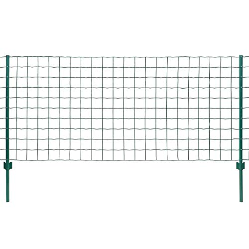 vidaXL Maschendrahtzaun Komplettset 20x0,8m Stahl Grün Gartenzaun Metallzaun
