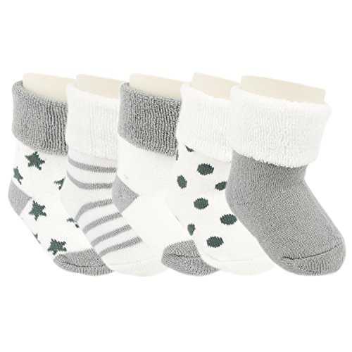 Ateid Baby Socken Frottee Gefüttert 5er-Pack Grau 0-6 Monate (Herstellgr. S)