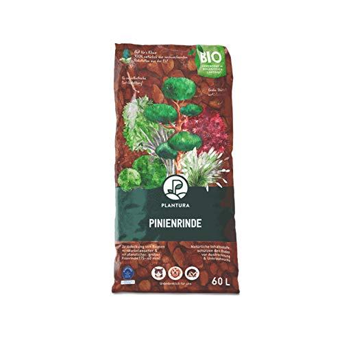 Plantura Bio Pinienrinde, 25-40 mm, 60 L, grob, naturbelassen & dekorativ, unterdrückt Unkrautwuchs