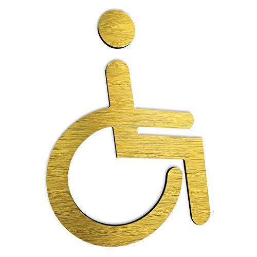 BSYDESIGN Behinderten Toilette Türschild - Rollstuhl Symbol/Zeichen - WC Schilder - Behinderten Metal Aufkleber - Toilettenschild aus gebürstetem - Behindert Deko Abziehbild (Gold)