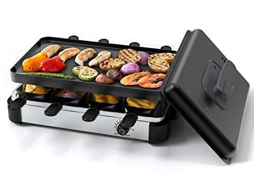 Muchen Raclette Grill für 8 Personen, BBQ Party grill zum Kochen von Käse, Rauchfreier Tischgrill inkl. Wendeplatte Antihaft-Grillplatte für Käse, mit Deckel, 1200W Temperaturregelung