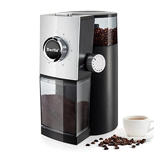 Derlla kaffeemühle elektrisch, coffee grinder, kaffeemühle waagerechtes Scheibenmahlwerk 15-stufiger Mahlgrad, ideal für Filterkaffee oder French Press, 130 Watt(schwarz)