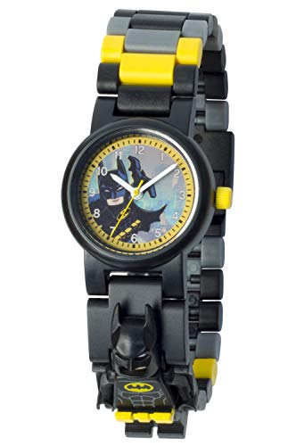 Armbanduhr Lego Batman Movie - Batman, inklusive 12 zusätzlichen Armbandgliedern, Lego Minifigur im Armband integriert, analoges Ziffernblatt, kratzfestes Acrylglas
