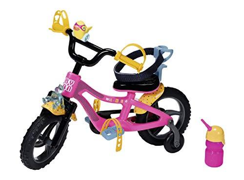 Zapf Creation 830024 BABY born Fahrrad - rosa Puppenfahrrad mit Gurtsystem, Hupe, Blicklicht und Flasche