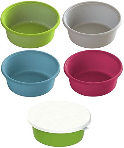 Cajou 3 er Pack Futterschale mit Oder Ohne Deckel für Pferde Hunde Oder Salatschüssel (Blau, mit Deckel)