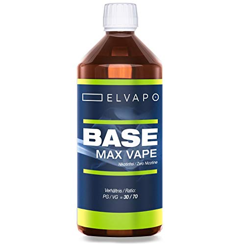 Elvapo BASE - Max Vape   1000ml / 1L   30/70 (PG/VG)   Basisliquid für das Mischen von E-Liquids mit Aromen (für E-Zigaretten und E-Shishas)   0mg (ohne Nikotin)   Liquid-Basen Made in Germany!