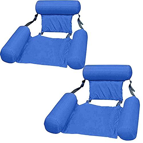 kunst für alle Aufblasbares Schwimmbett Schwimmende Reihe Wasservergnügen Lounge Chair Wasser Aufblasbares Schwimmbett Sofa Wasserbett Lounge Chairs Klappbare Rückenlehne (Blue*2)