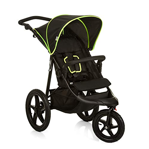 Hauck Runner Dreirad Jogger Buggy bis 25 kg mit Liegefunktion ab Geburt, große Lufträder für jedes Terrain, höhenverstellbarer Schiebegriff, kompakt zusammenfaltbar, schwarz/neon-gelb