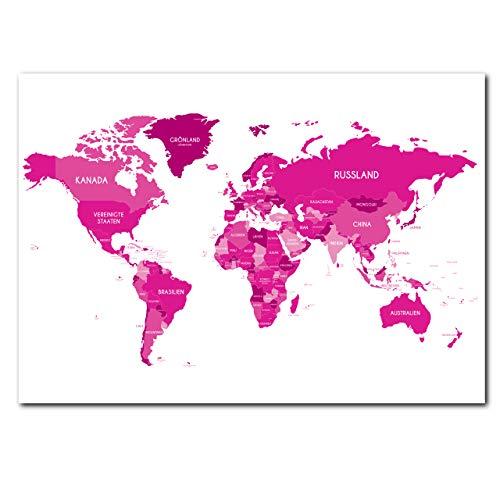 CLEAN SPORTS® Weltkarte in pink und rosa im Din A1 Format - Atlas als Poster für Teenager Mädchen Deko - 59,4x84cm XXL Wanddeko Kinderzimmer und Wohnzimmer