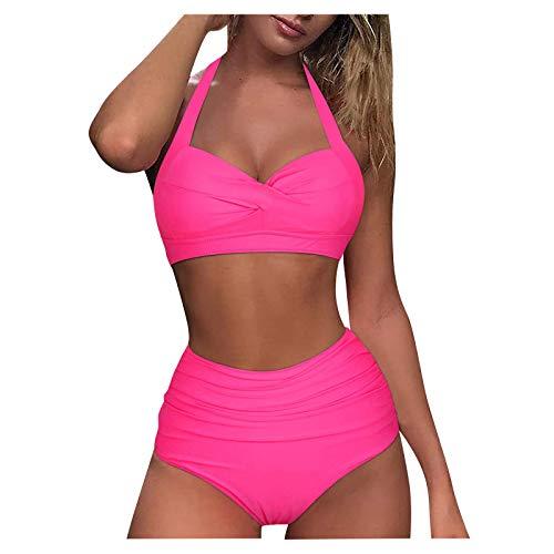 Push Up Bikini,Damen Bikini Sets, Push-Up Spaghettiträger Bikini Obertiel Hoher Bund Badehose Sommer,Triangel Bikini,Bikini Rosa,XXL