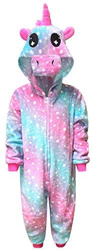 Kinder Einhorn Onesie Mädchen Bequeme Pyjamas Jungen weichen Schlafanzug Geschenke für Kinder Tier Jumpsuit Dress Up Kostüm