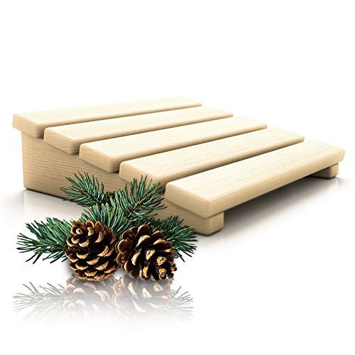 CozyNature Sauna Kopfstütze/Rückenlehne aus hochwertigem finnischem Kiefernholz | 2in1 Sauna Zubehör | 100% handgefertigt aus nachhaltigem Holz | Naturbraun