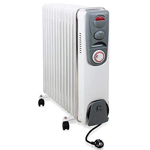 Ölradiator Elektrische Heizung Öl Radiator 13 Rippen 2500W Elektroheizung Mobil Timer Abschaltautomatik Überhitzungsschutz