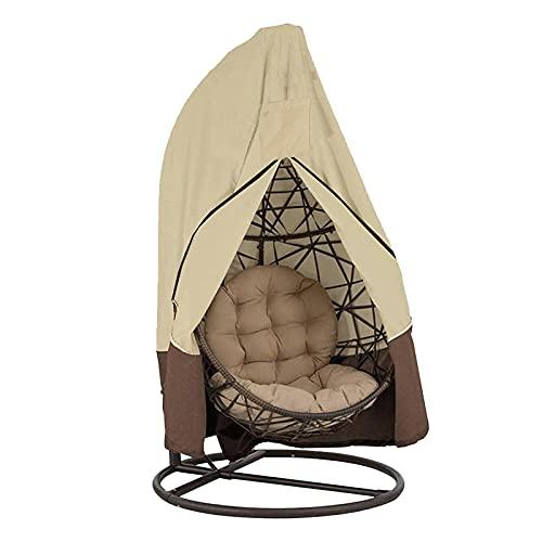 HUANRU 420D Hängesessel Schutzhülle Mit Reißverschluss Oxford Schwebesessel Abdeckung Wasserdicht Möbel-Schutzabdeckung Garten Outdoor (190 X 115 cm(Einzelsitz, Beige)