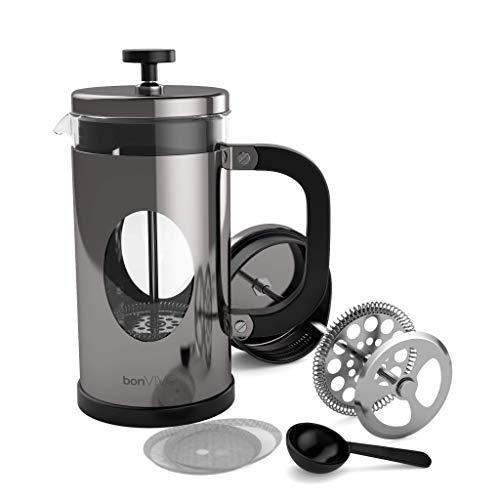 bonVIVO® GAZETARO I Design-Kaffeebereiter Und French Press Coffee Maker In Silber-Optik, Kaffee-Kanne Aus Glas Mit Edelstahl-Rahmen, Kaffee-Presse Mit Edelstahl-Filter, groß, 1l / 1000ml (8 Tassen)