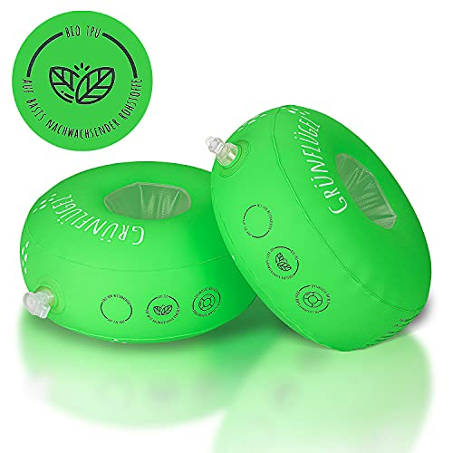 Grünflügel Schwimmflügel Kinder 3-6 Jahre ( Bio-TPU, Schaumstoffkern, Keine Weichmacher, Hautfreundlich ) Schwimmhilfe Baby ab 1 Jahr oder 2 Jahre und mehr | Schwimmscheiben | Schwimmring | 11-30kg