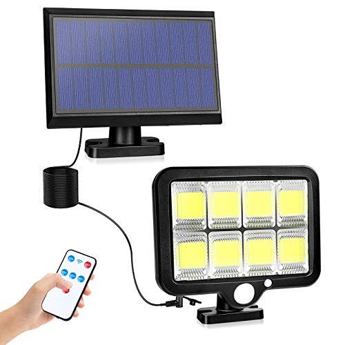 2NLF Solarlampen für Außen mit Bewegungsmelder 160 COB Solarleuchten 5M Kabel mit Fernbedienung 3 Modi 2400 mAh IP65 Wasserdichte Superhelle für Garage Carport Terrasse