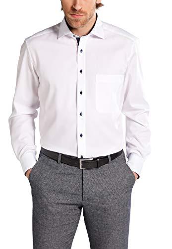 ETERNA Langarm Hemd COMFORT FIT Pinpoint unifarben mit Classic Kent Kragen- Gr. 45 EU, Weiß