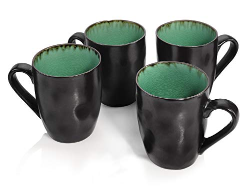 Sänger Kaffeebecher Palm Beach aus Porzellan 4 teilig   Füllmenge der Becher 350 ml   Geschirr mit Reisslack Effekt bestehend aus Tassen in Vintage Optik