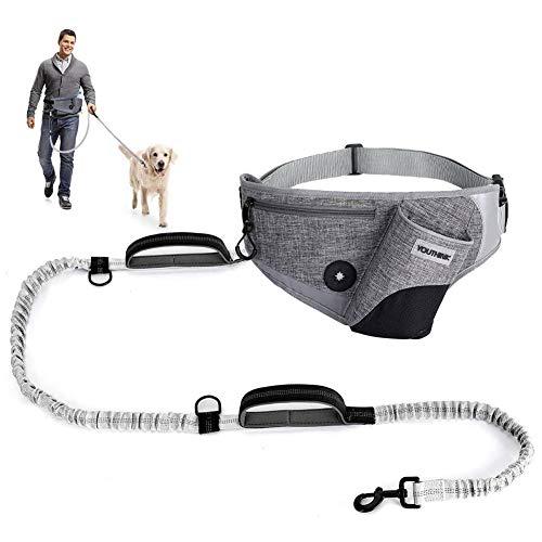 YOUTHINK Joggingleine mit verstellbarem Bauchgurt, für große und mittelgroße Hunde | Jogging Hundeleine stoßdämpfende Bungee-Leine bis 180 Pfund mit Wasserflaschenhalter