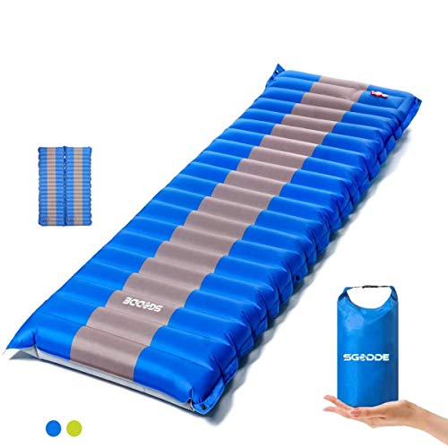 SGODDE Isomatte Camping Selbstaufblasbare, Handpresse Aufblasbare,leichte Rucksackmatte für Wanderungen zum Wandern auf Reisen, langlebige wasserdichte Luftmatratze kompakte Wandermatte