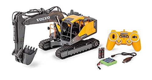 Carson 500907339 Raupenbagger Volvo 1:16 - Ferngesteuertes Baufahrzeug für Kinder ab 8 Jahren, RC Bagger mit Funktionen, inkl. Batterien und Fernsteuerung, Gelb