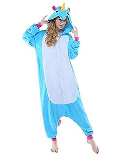 VineCrown Schlafanzug Einhorn Pyjamas Tier Overall Karikatur Neuheit Jumpsuit Kostüme für Erwachsene Kinder Weihnachten Karneval (L for 168CM-177CM, Blau)