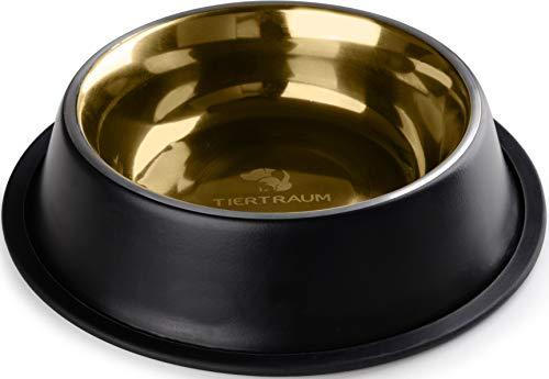 Tiertraum Fressnapf für Hunde, Hund Futternapf aus Aluminium 0,9 l, Hundenapf, Wassernapf - Schwarz/Gold