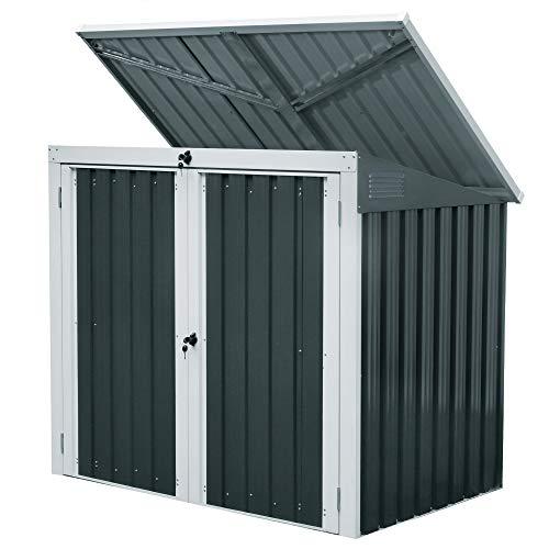 Zelsius Gartenschrank (B) 158 x (T) 101 x (H) 134 cm | Anthrazit | Geräteschrank mit Lüftungsgittern | Gartenhaus | Geräteschuppen für Garten | Mülltonnenbox für 2 Tonnen