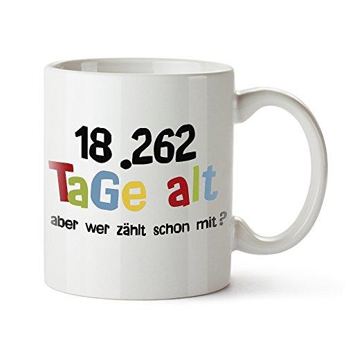 Casa Vivente Tasse mit Aufdruck – Alter in Tagen – Zum 50. Geburtstag – Kaffeebecher aus Keramik – Farbe: Weiß – Geschenkideen für Männer und Frauen – Füllmenge: 300 ml