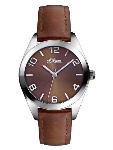 s.Oliver Damen-Armbanduhr XS Analog Quarz Leder SO-2770-LQ, braun