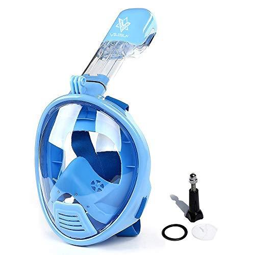 V VILISUN Tauchmaske Vollmaske für Kinder Schnorchelmaske Vollgesichtsmaske mit 180° Sichtfeld und Kamerahalter, Müheloses Atmen, Dichtung aus Silikon Anti-Fog und Anti-Leck Technologie